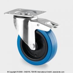 Roulette pivotante sur platine avec blocage